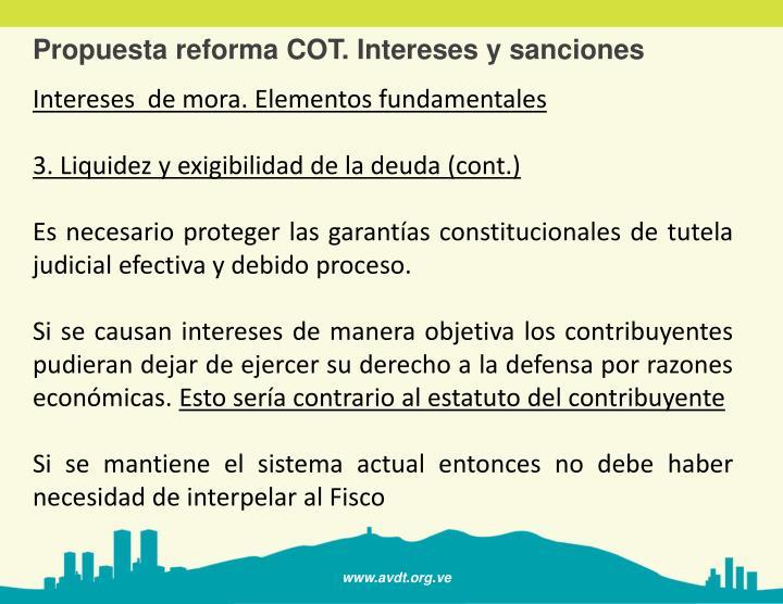 Propuesta reforma COT. Intereses y sanciones