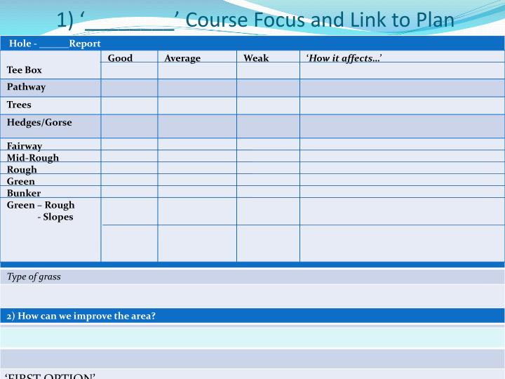 1 course focus and link to plan