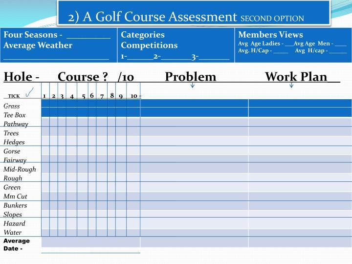 2) A Golf Course Assessment