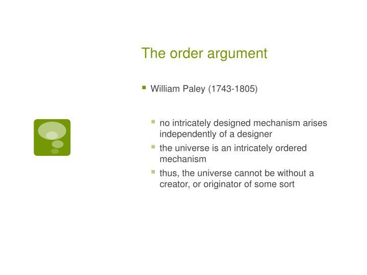 The order argument