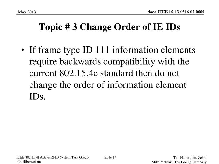If frame type ID 111 information elements require backwards compatibility with the current 802.15.4e standard then do not change the order of information element IDs.