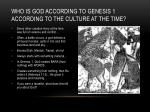 who is god according to genesis 1 according to the culture at the time