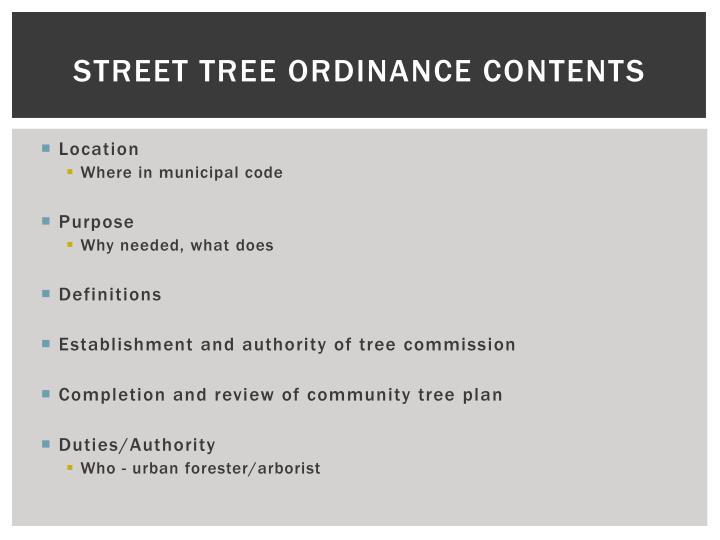 Street Tree Ordinance Contents