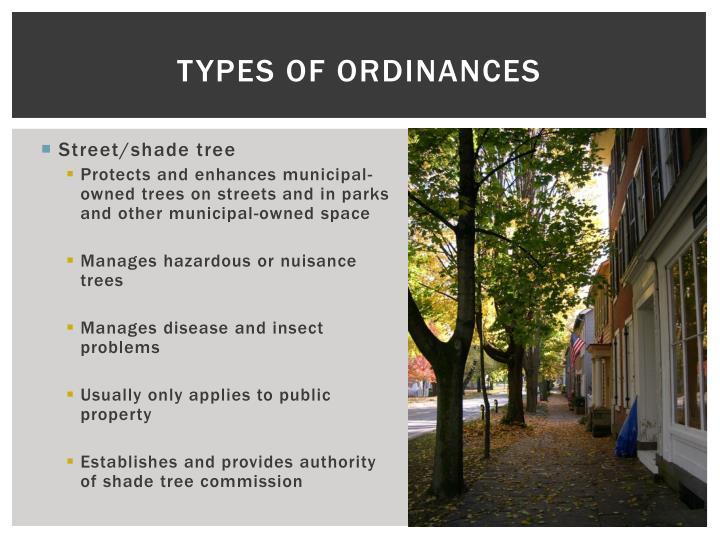 Types of Ordinances