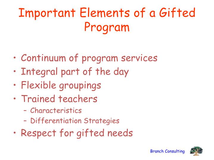 Important Elements of a Gifted Program