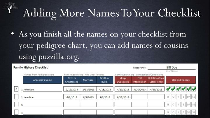 Adding More Names To Your Checklist