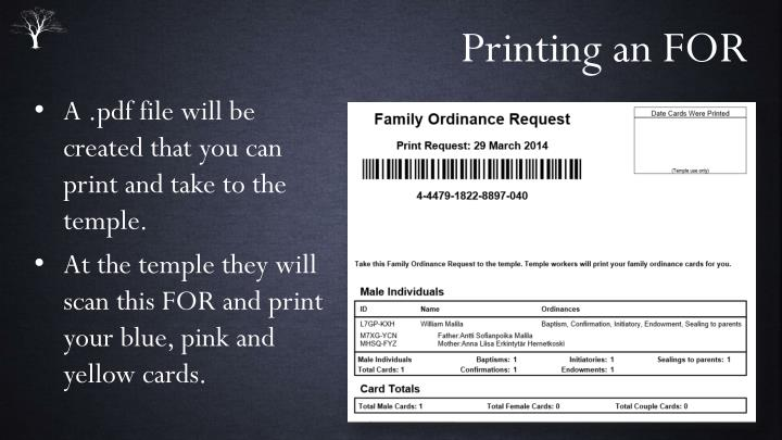 Printing an FOR