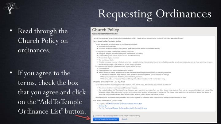 Requesting Ordinances