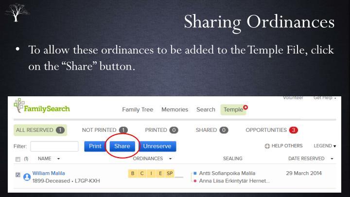 Sharing Ordinances