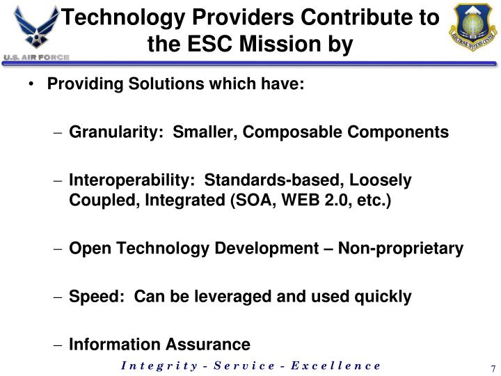 Technology Providers Contribute to the ESC Mission by