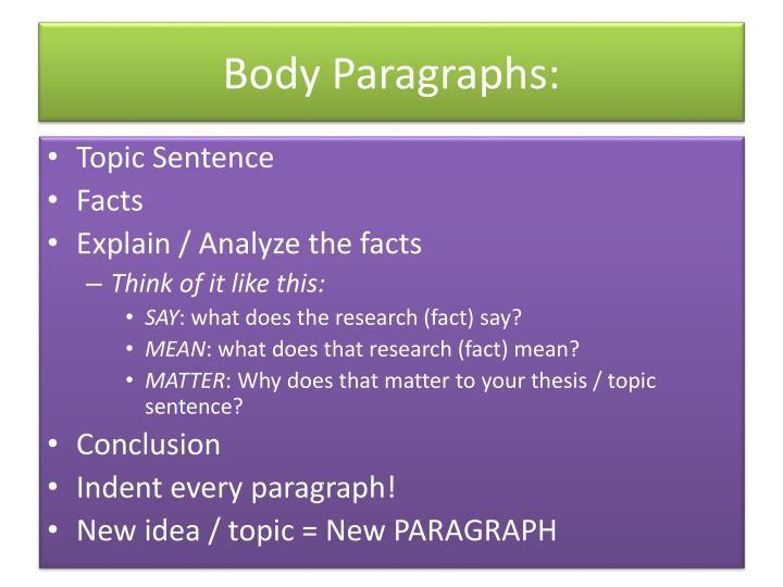 Body Paragraphs: