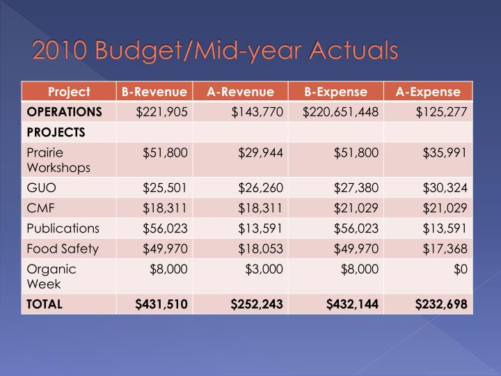 2010 Budget/Mid-year