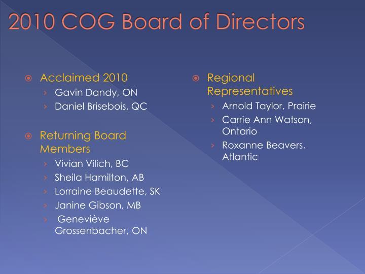 2010 COG Board of Directors