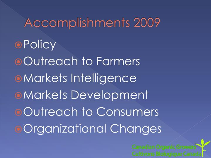 Accomplishments 2009