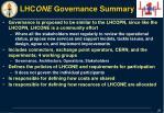 lhc one governance summary