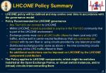 lhc one policy summary