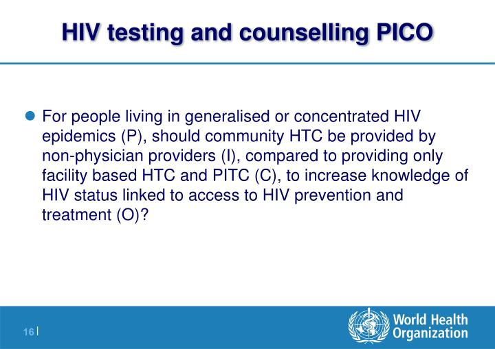 HIV testing and counselling PICO