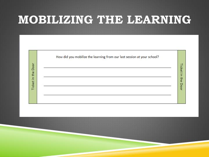 Mobilizing the learning