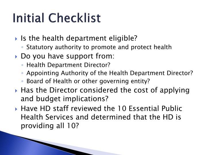 Initial Checklist