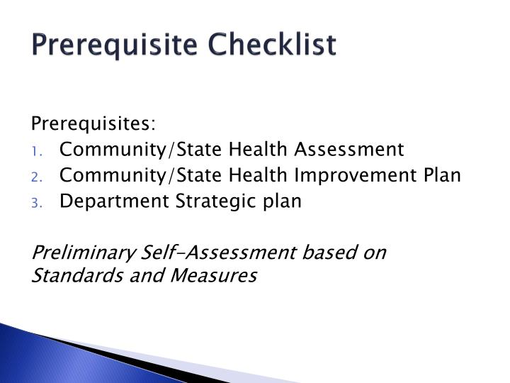 Prerequisite Checklist