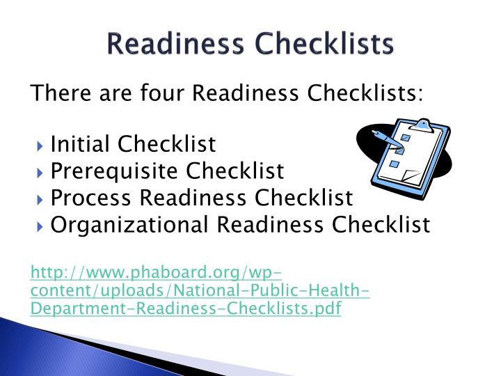 Readiness Checklists