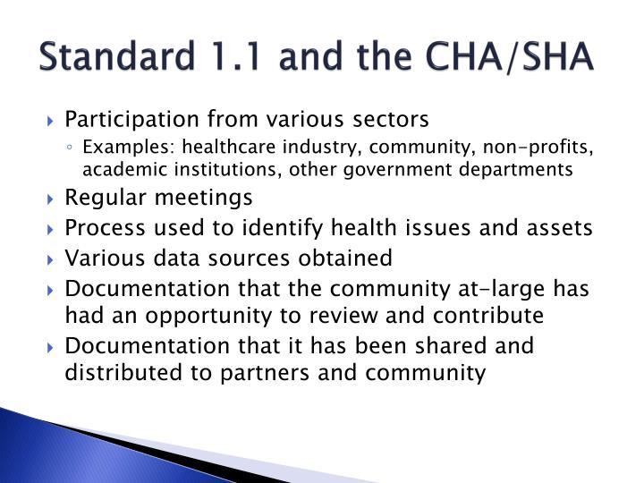 Standard 1.1 and the CHA/SHA