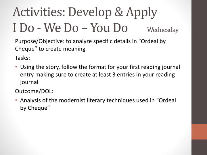 Activities: Develop & Apply