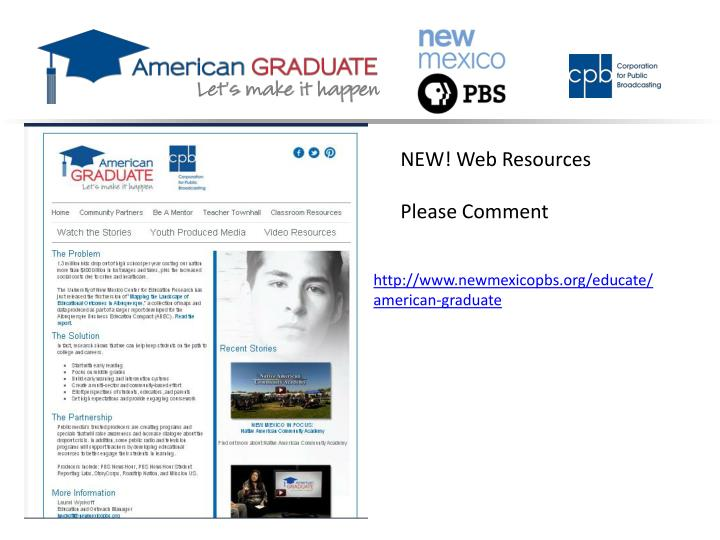 NEW! Web Resources