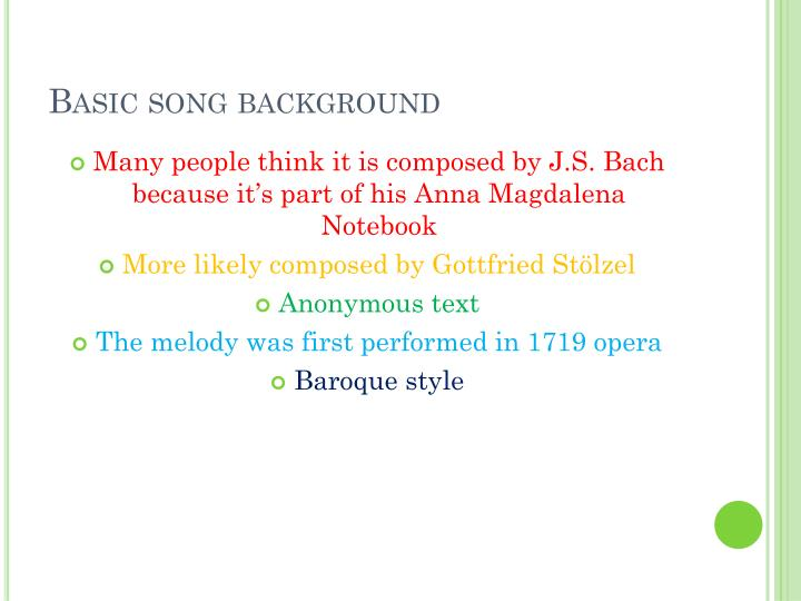 Basic song background