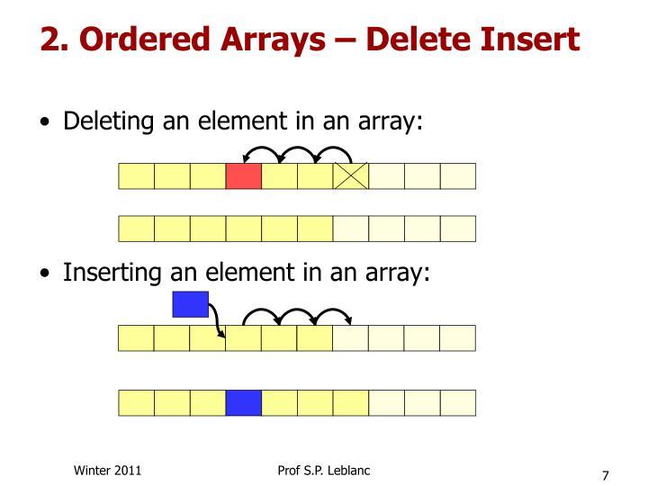 2. Ordered Arrays – Delete Insert