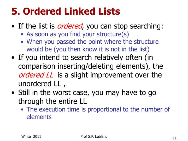 5. Ordered Linked Lists