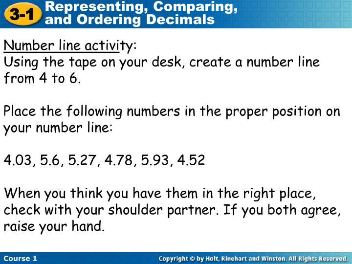 Number line activi