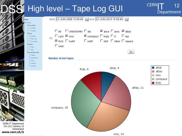 High level – Tape Log GUI