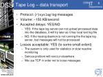 tape log data transport