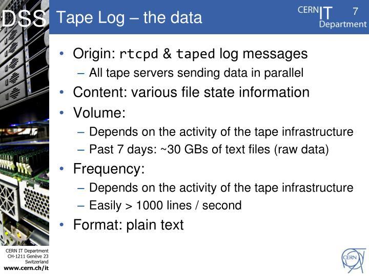 Tape Log – the data