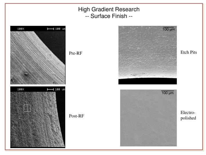High Gradient Research