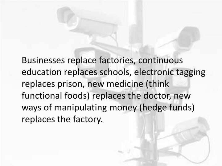 Businesses replace factories, continuous education replaces schools, electronic tagging replaces prison, new medicine (think functional foods) replaces the doctor, new ways of manipulating money (hedge funds) replaces the factory.