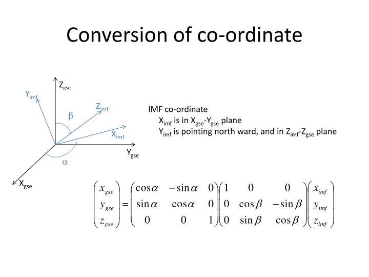 Conversion of co-ordinate