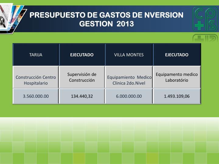 PRESUPUESTO DE GASTOS DE NVERSION