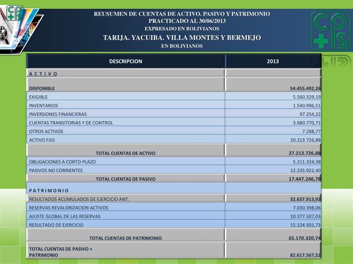 REUSUMEN DE CUENTAS DE ACTIVO. PASIVO Y PATRIMONIO PRACTICADO AL 30/06/2013