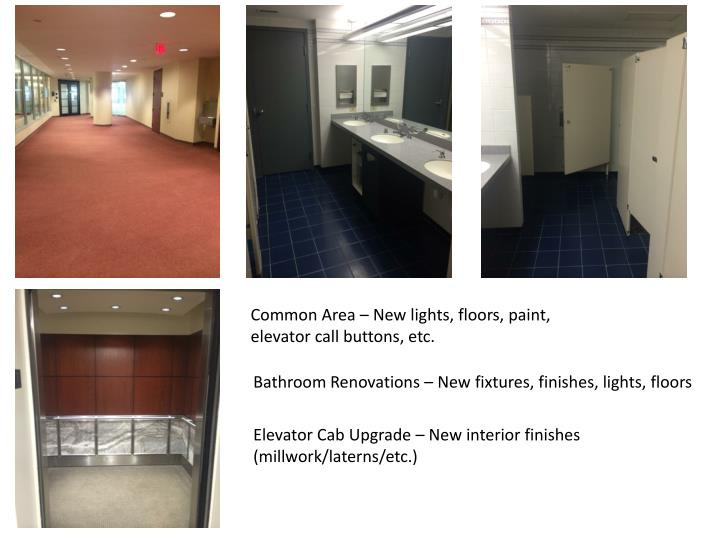 Common Area – New lights, floors, paint, elevator call buttons, etc.