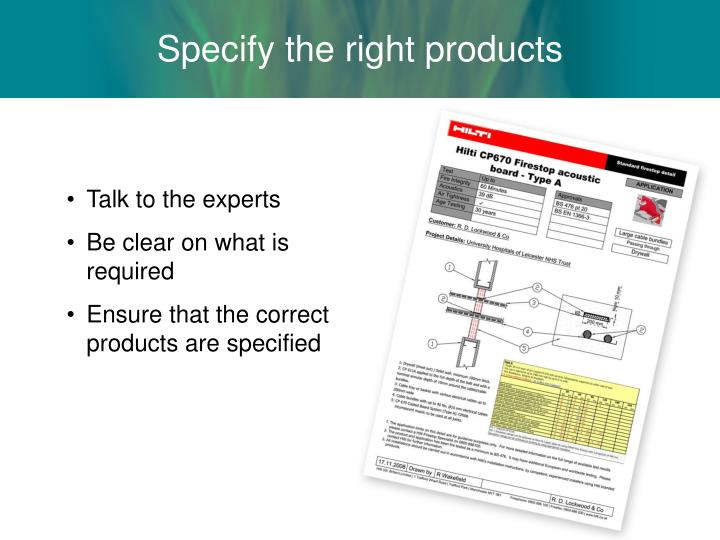 Specify the right products