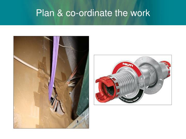 Plan & co-ordinate the work