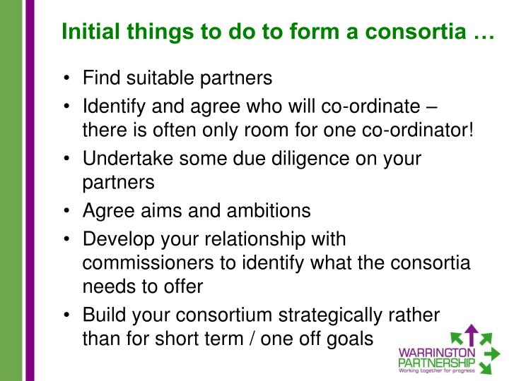 Initial things to do to form a consortia …