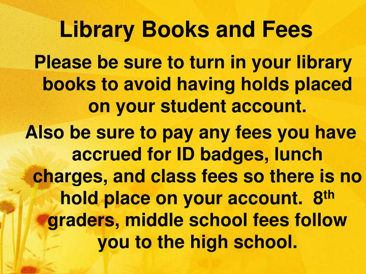 Library Books and Fees
