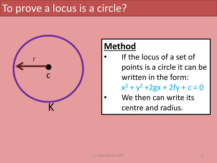 To prove a locus is a circle?