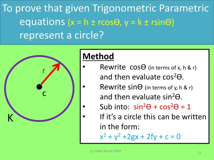 To prove that given Trigonometric Parametric equations