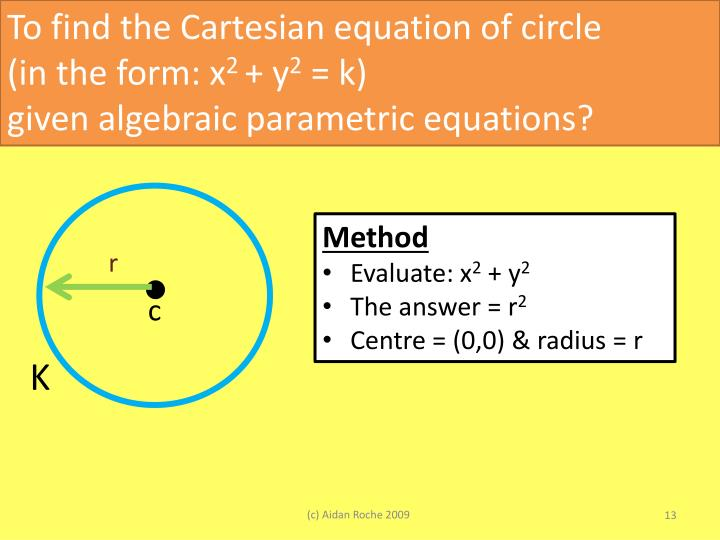 To find the Cartesian equation of circle