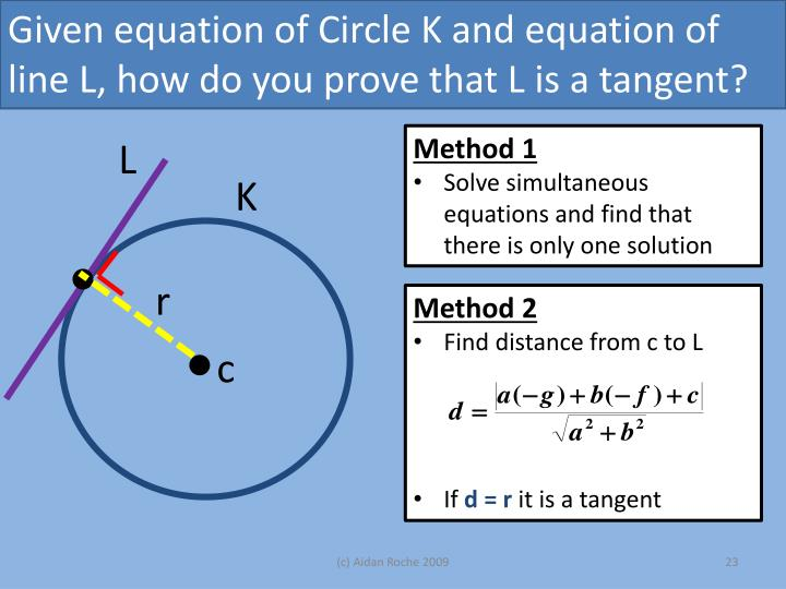 Given equation of Circle K and equation of line L, how do you prove that L is a tangent?