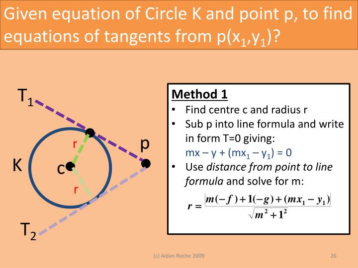 Given equation of Circle K and point p, to find equations of tangents from p(x